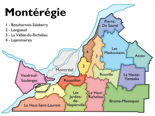 Image de la carte en Montérégie