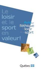Couverture du livre l'éthique en loisir et sport